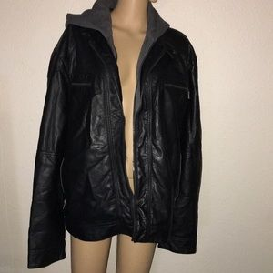 Men's Calvin Klein hooded leather jacket